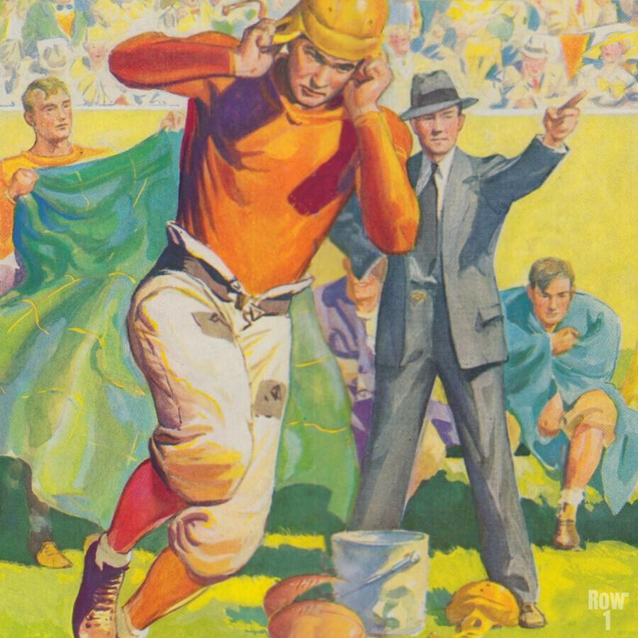 football poster american vintage gridiron sideline art print  Print