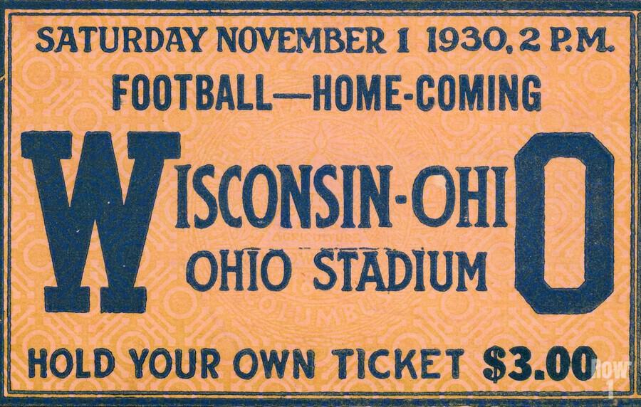 ticket stub metal sign osu buckeyes football vintage tickets wood prints  Print