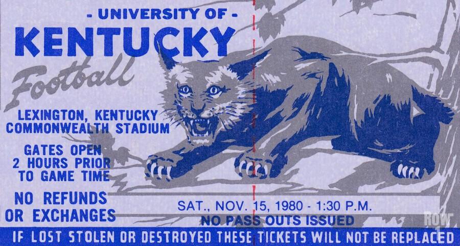 university kentucky wildcats football ticket stub wall art  Print