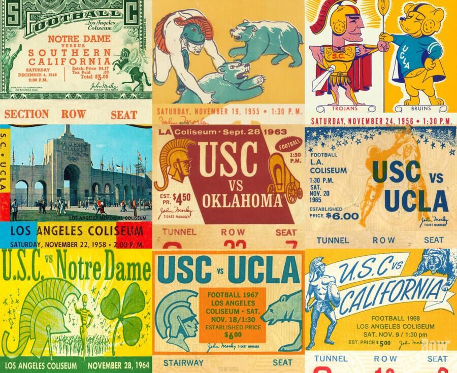 USC Trojans Football Ticket Stub Collage  Print