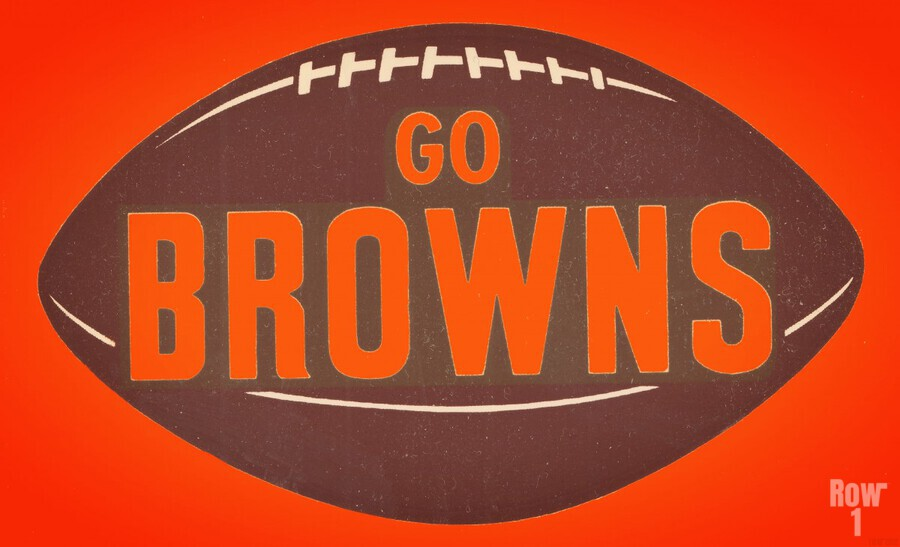 Vintage Cleveland Browns Football Art  Print