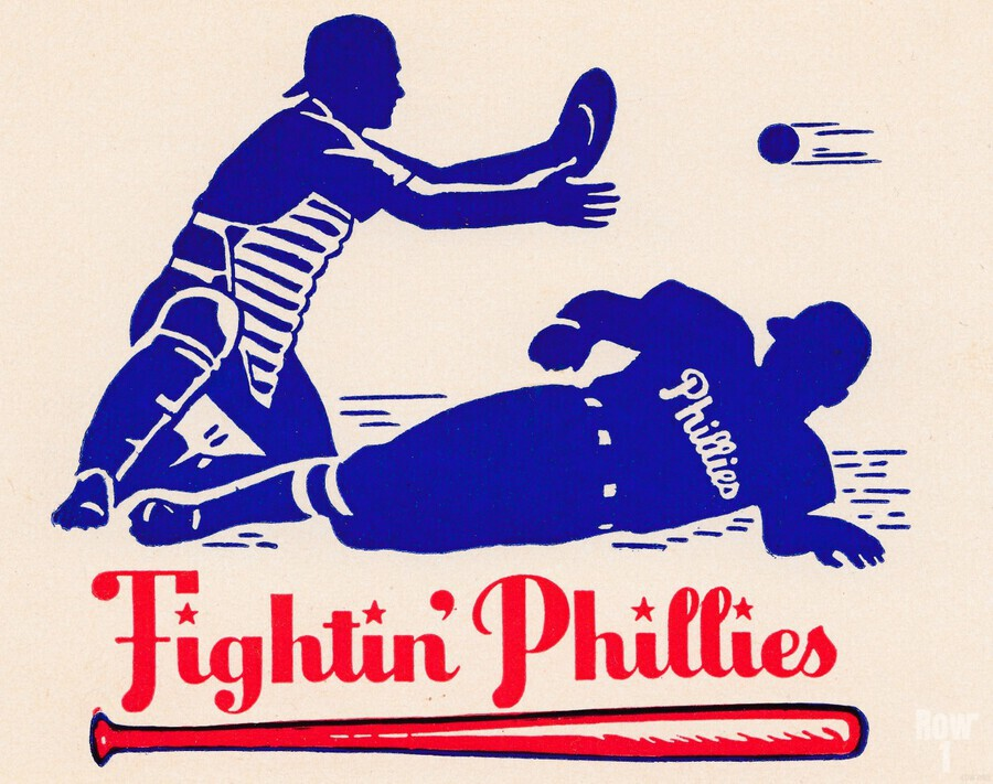 vintage fightin phillies baseball art  Print