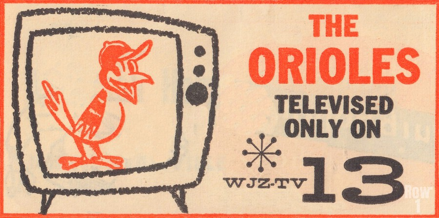 wjz tv baltimore maryland channel 13 television ad orioles baseball retro media ads  Print