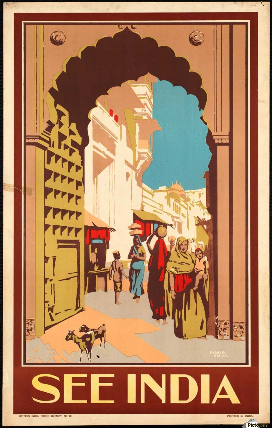 Visit India Vintage Travel Poster Print on Paper or Canvas Giclee Poster