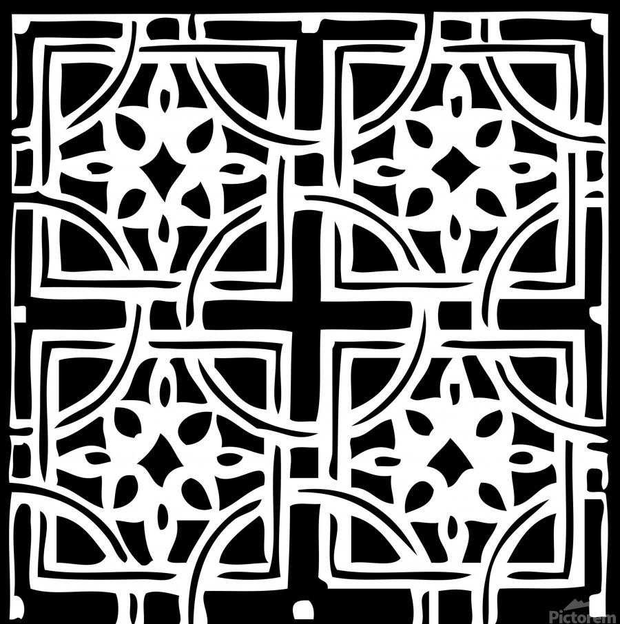 Blackandwhitegeometricgeometrypattern  Print
