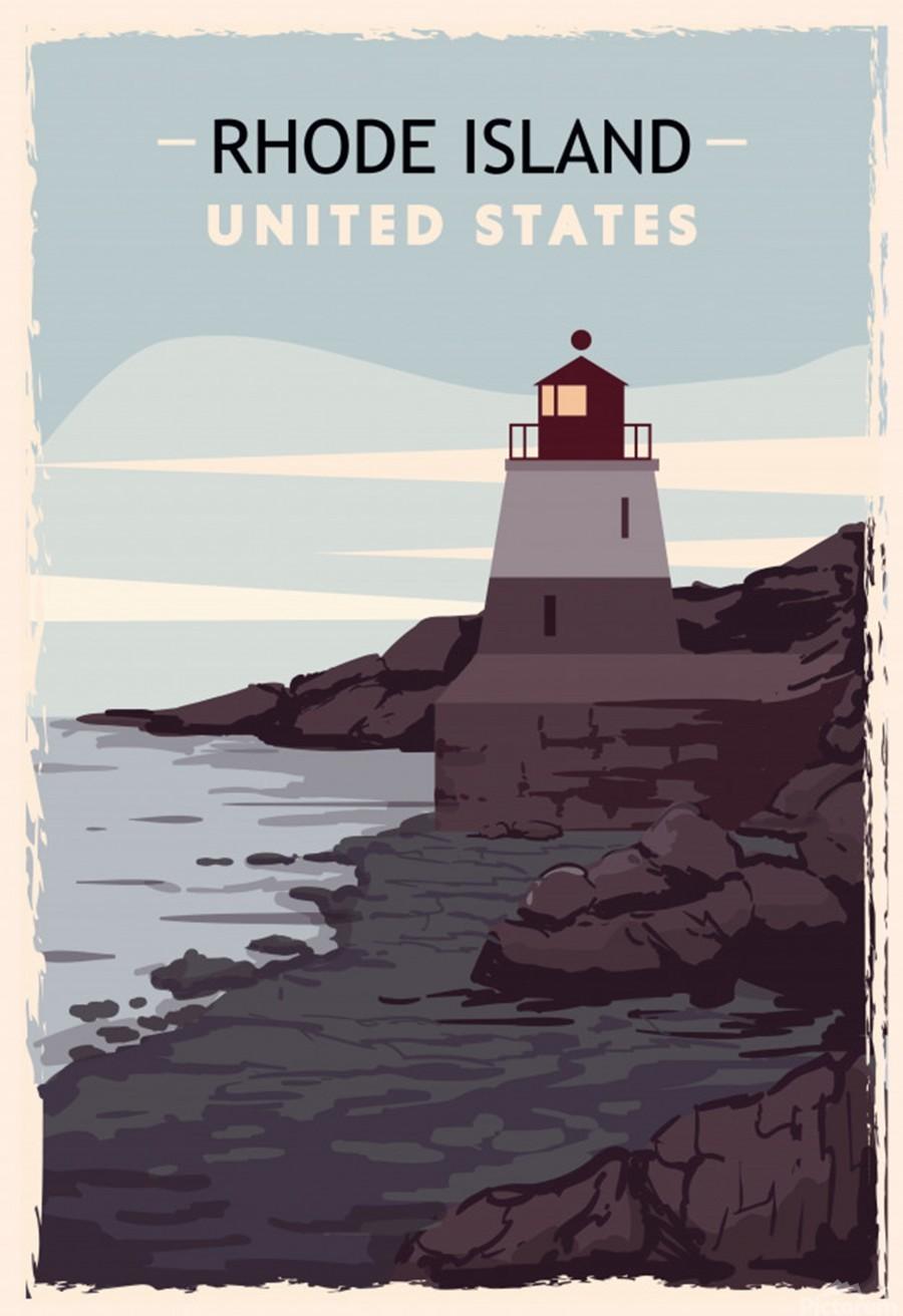 Rhode island retro poster usa rhode island travel illustration united states america  Print
