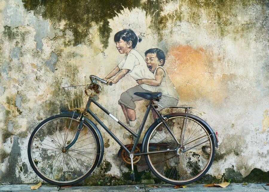 bicycle children graffiti art  Print