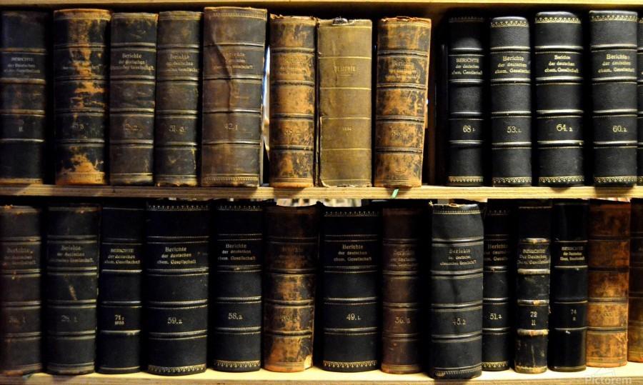 books old vintage library shelves  Print