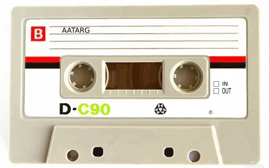 cassette tape recorder vintage old  Print
