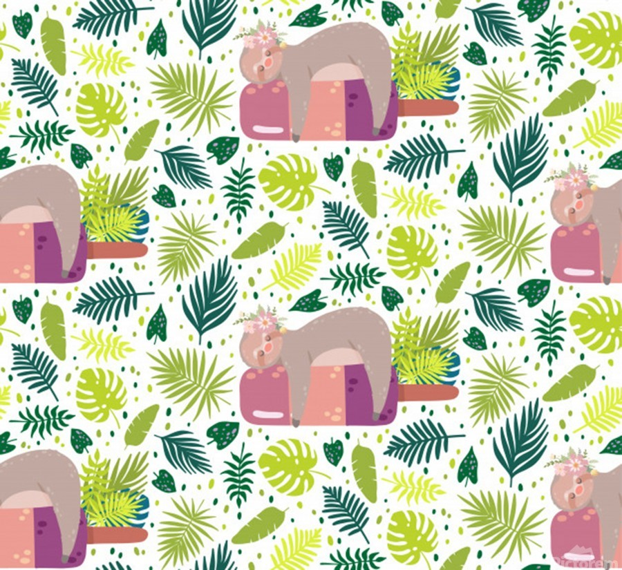 cute sloth sleeping ice cream surrounded by green tropical leaves  Print
