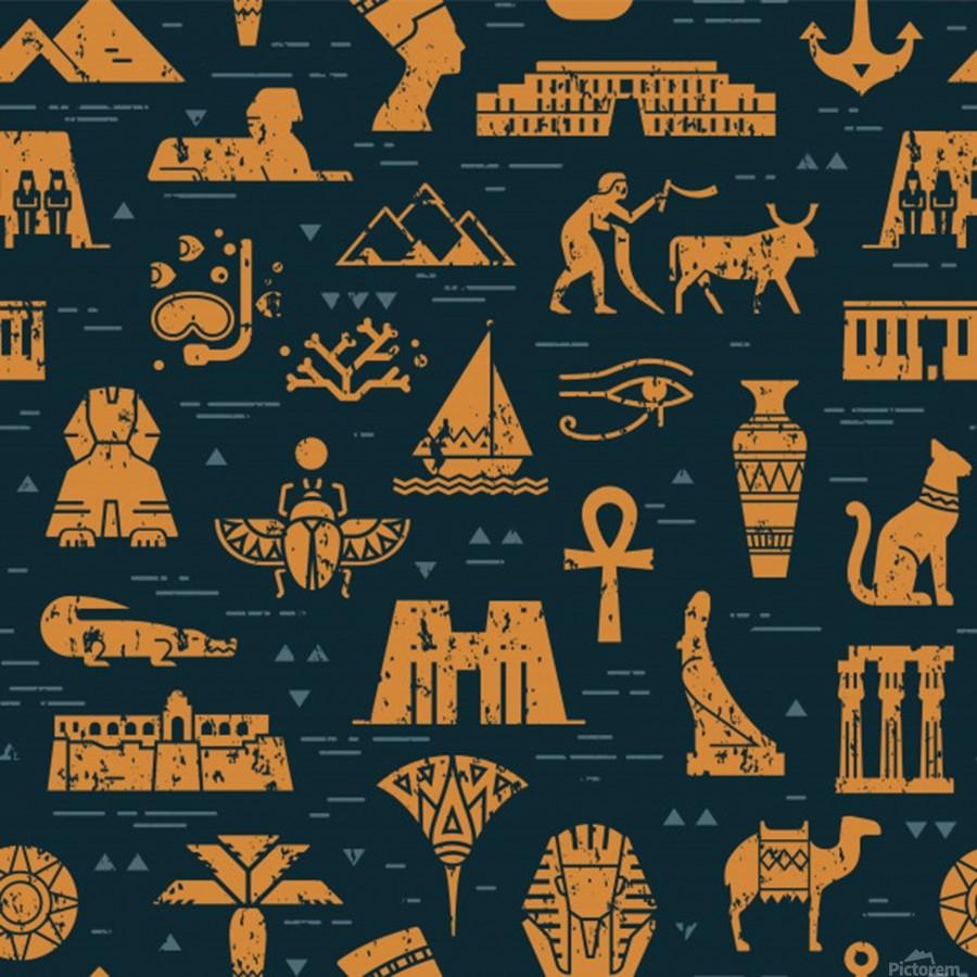 dark seamless pattern symbols landmarks signs egypt  Print