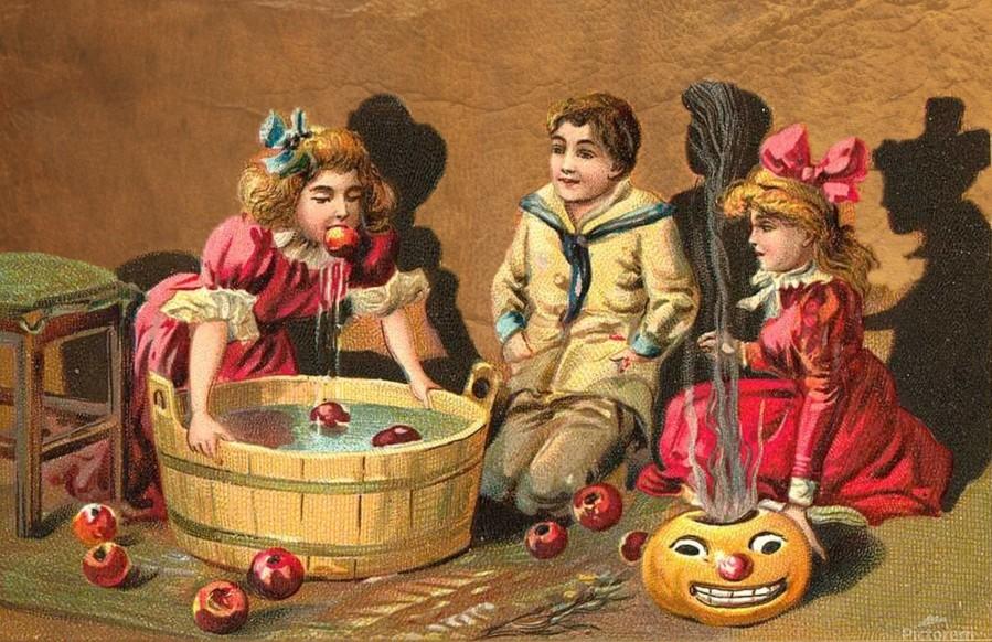 halloween vintage kids card happy  Print