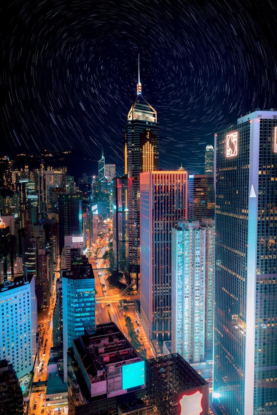 high rise buildings with lights  Print