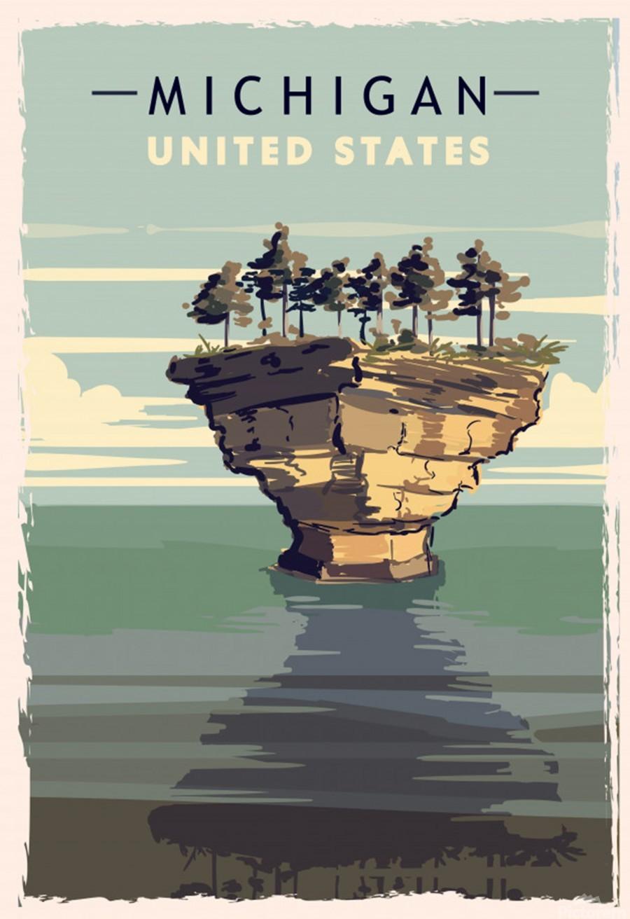 michigan retro poster usa michigan travel illustration united states america  Print