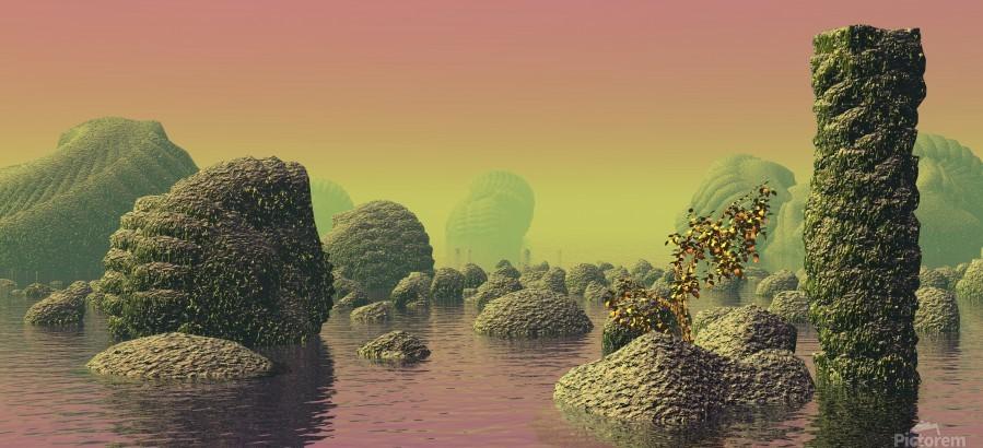 planet water sea landscape space  Print