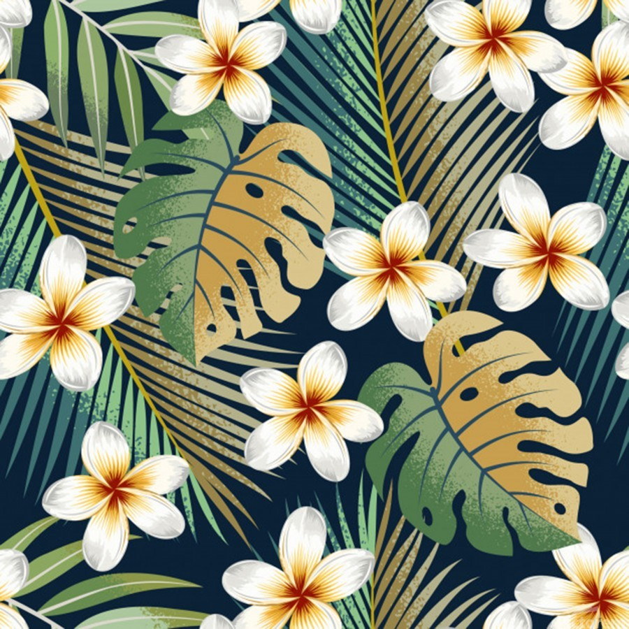 seamless pattern with tropical strelitzia flowers leaves exotic background_  Print
