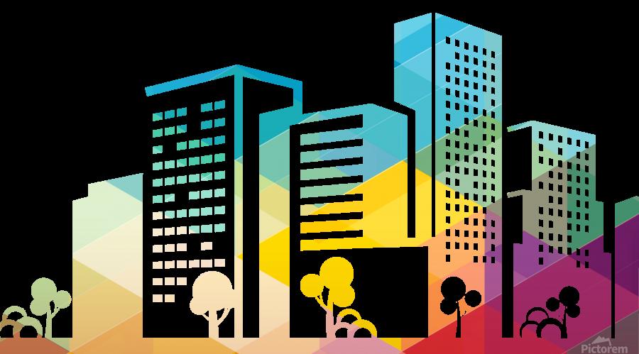silhouette cityscape building icon color city  Print