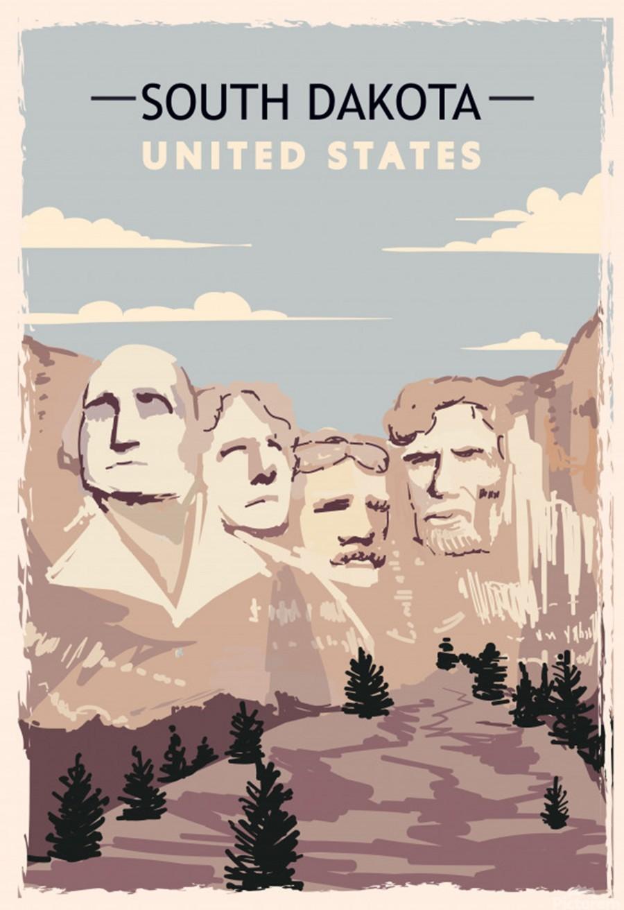 south dakota retro poster usa south dakota travel illustration united states america  Print