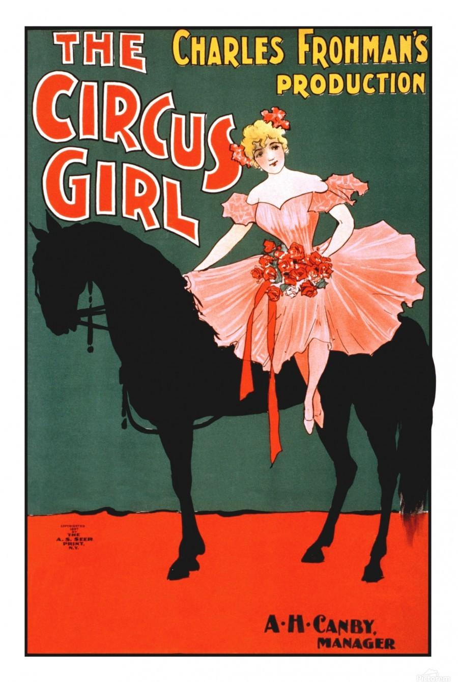 the circus girl vintage poster girl  Print