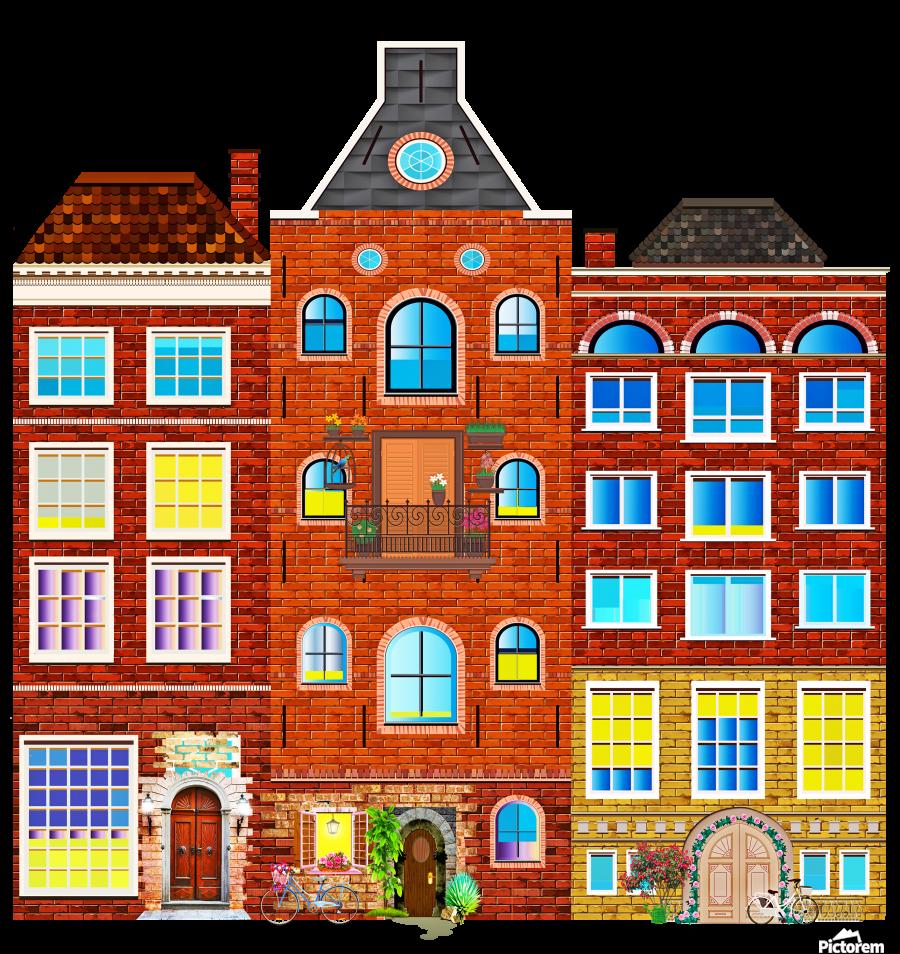 town buildings old brick building  Print
