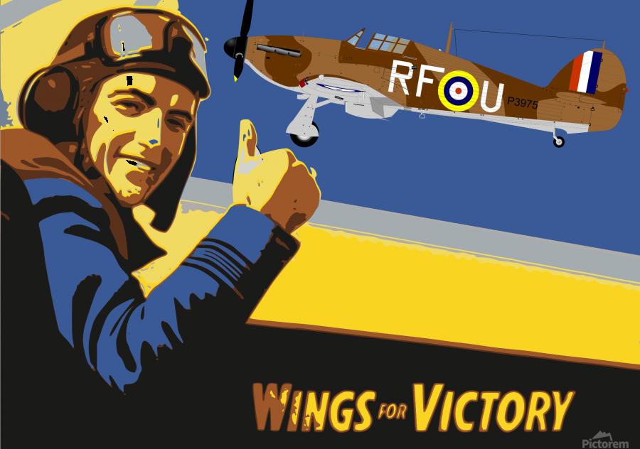vintage war pilot airplane victory  Print