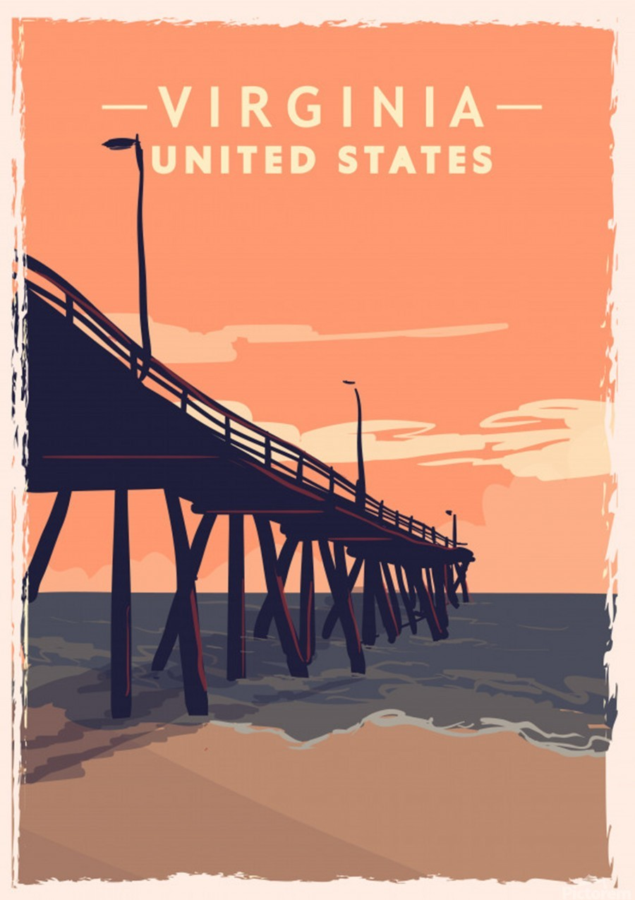 virginia retro poster usa virginia travel illustration united states america  Print