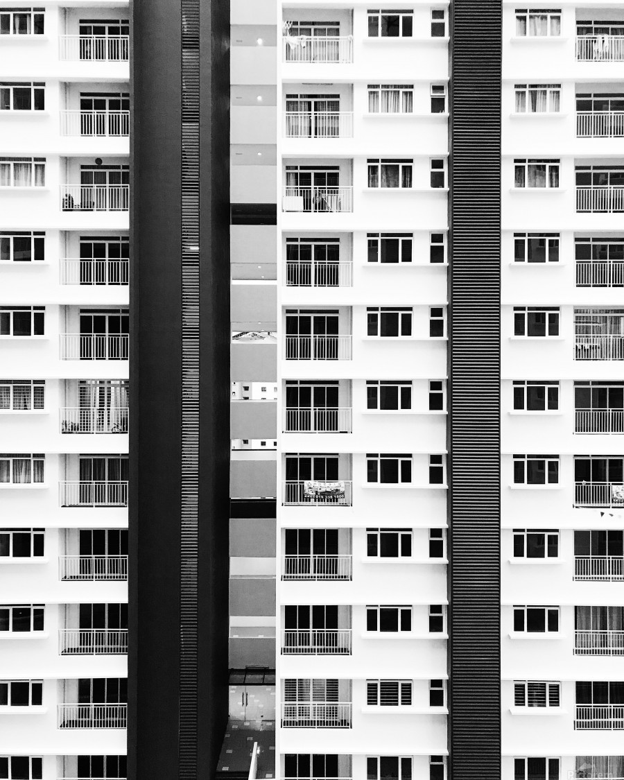 white and black city buildings  Print