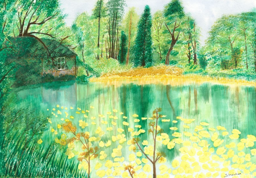 Wallington Hall pond  Print