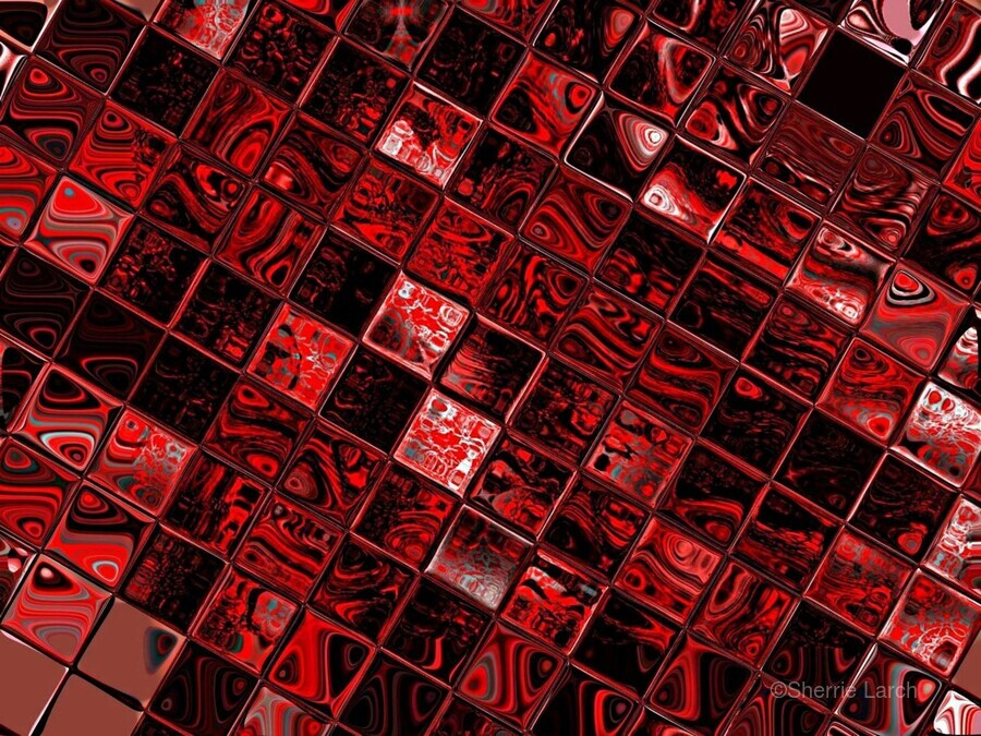 Red Glass Tiles 3  Print