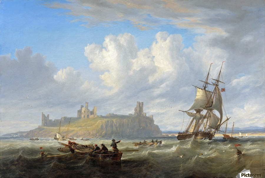 Shipping off Dunstanborough Castle, Northumberland 1844  Print