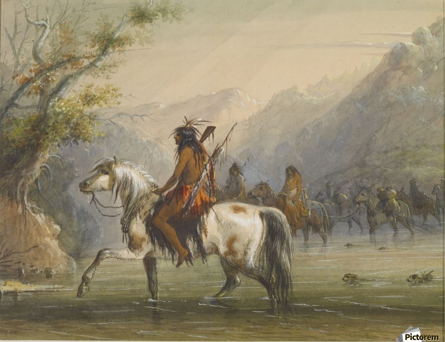 Shoshone Indians - Fording a River  Print