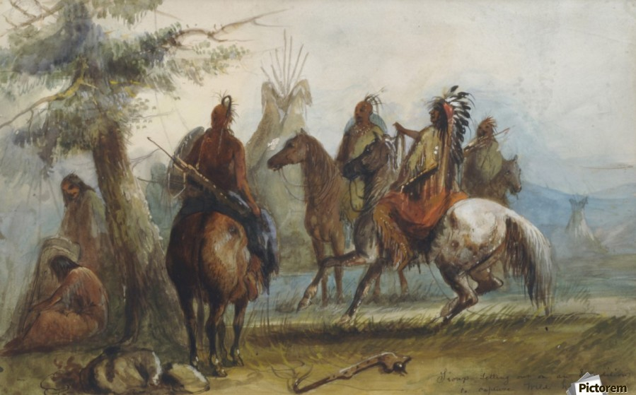 Sioux setting out on an expedition to capture wild horses  Print