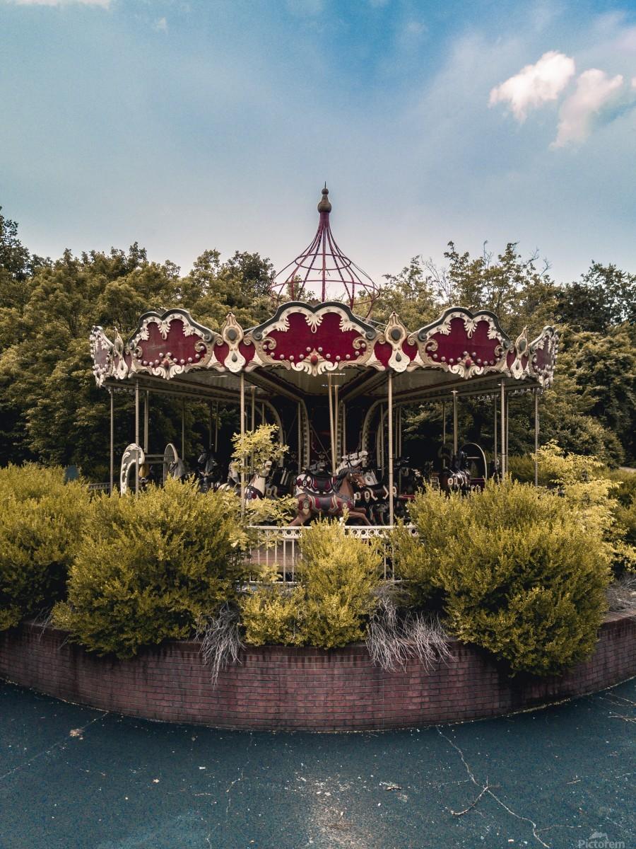 Abandoned Theme Park Merry Go Round  Print