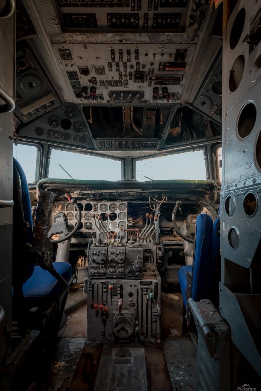 Abandoned Airplane Cockpit  Print