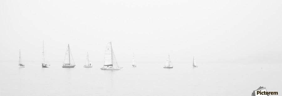 sea black and white ocean boats  Print