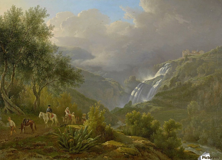 The Cascades at Tivoli, with a storm approaching  Print