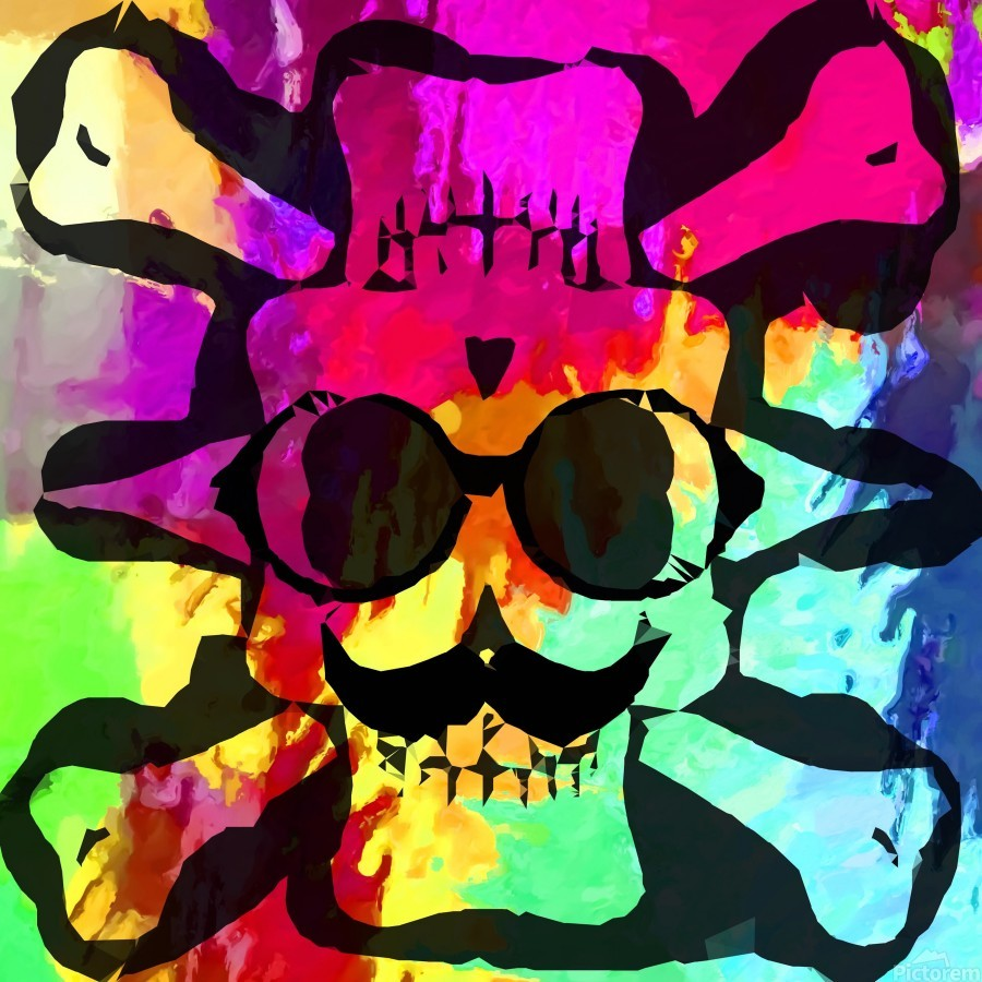 old vintage funny skull art portrait with painting abstract background in red purple yellow green  Print
