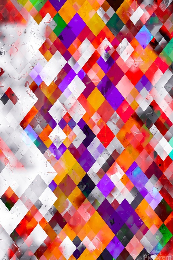 colorful geometric square pixel pattern abstract art in orange red purple  Print