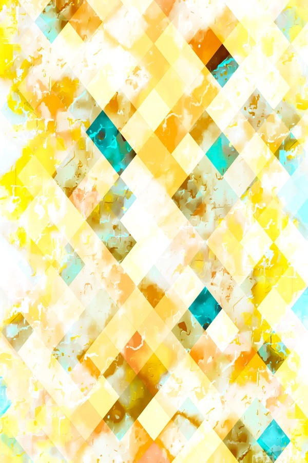 geometric pixel square pattern abstract in yellow brown blue  Print