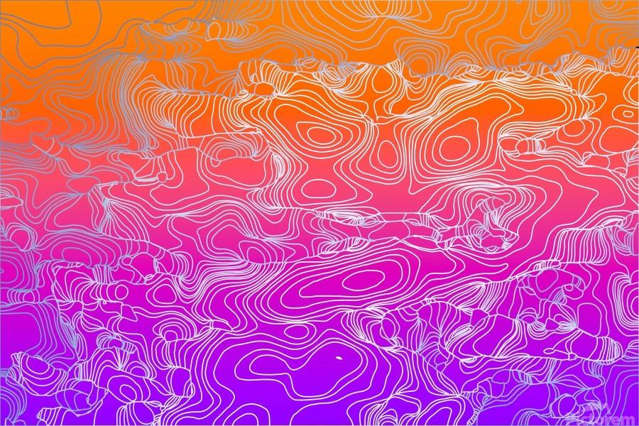 geometric fractal line abstract background in purple orange  Print