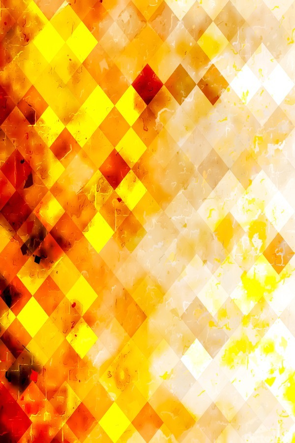 geometric pixel square pattern abstract in brown and yellow  Print