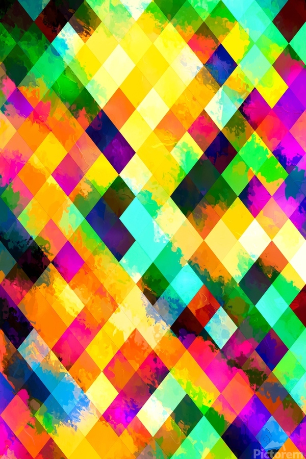 geometric square pixel pattern abstract background in yellow blue green pink orange  Print