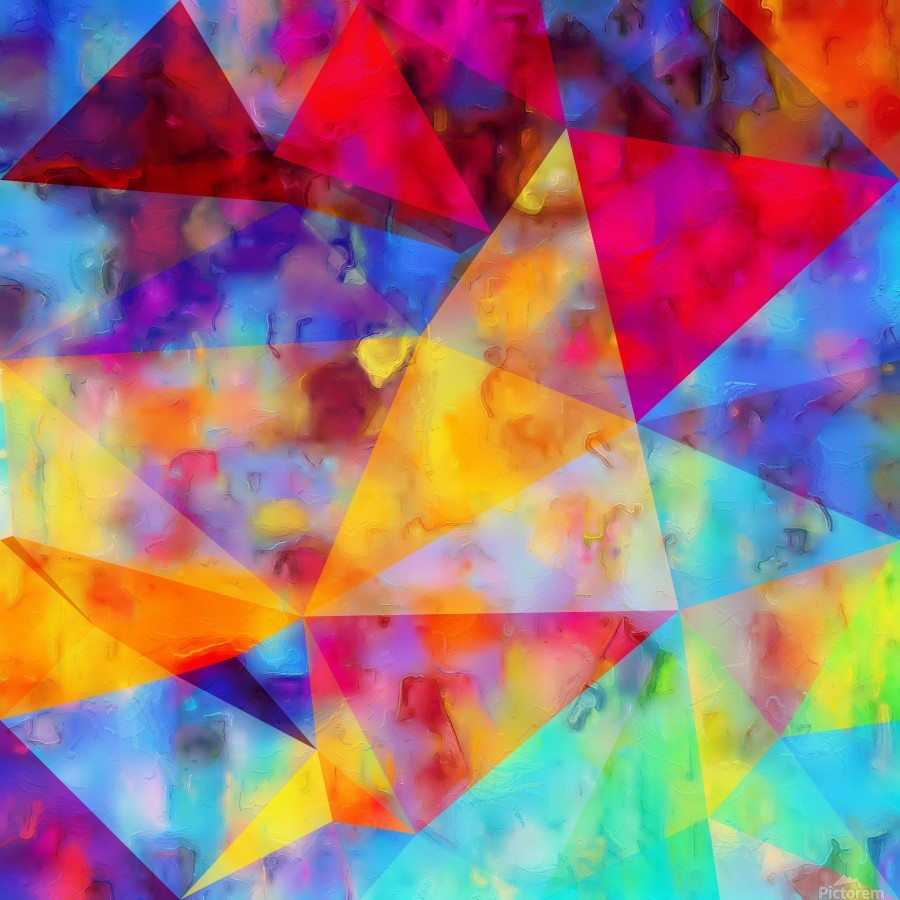 vintage psychedelic triangle polygon pattern abstract in orange yellow red blue purple  Print