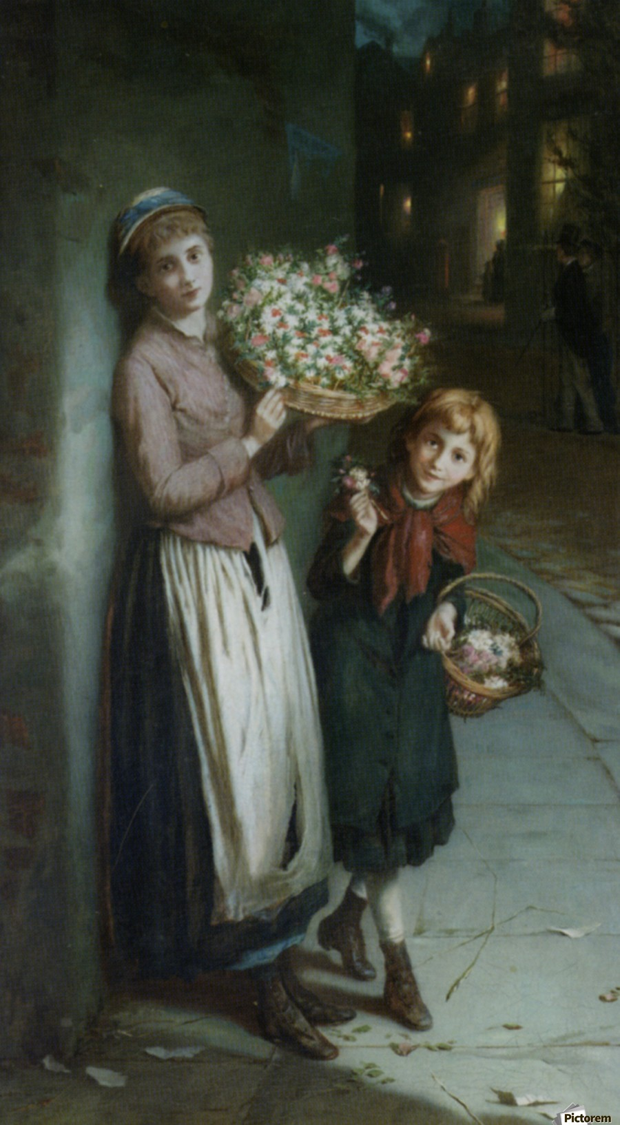Two girls selling flowers  Print