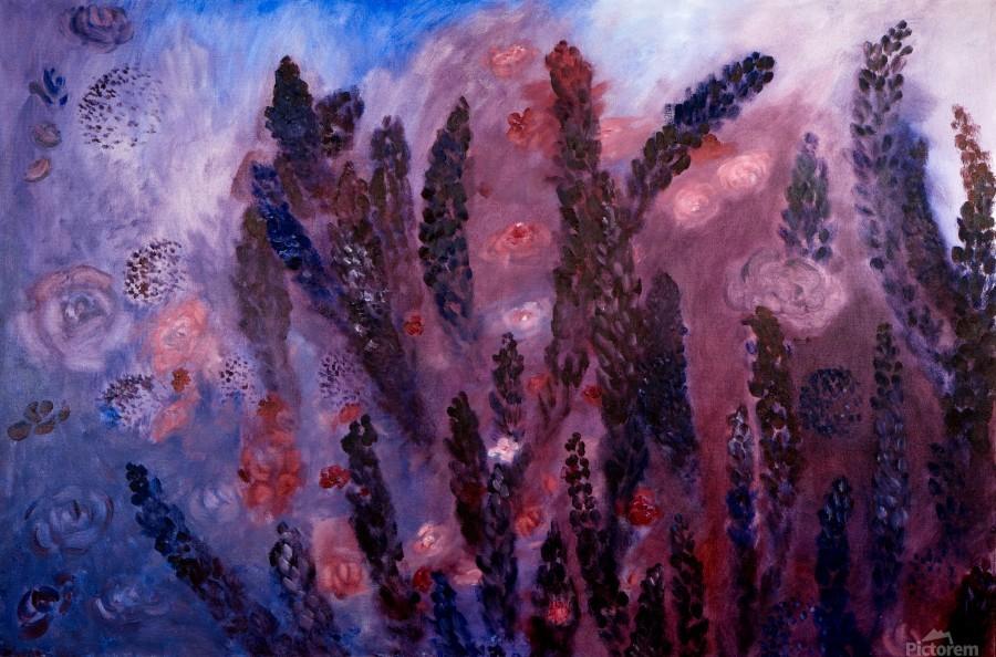 Memories of Lupine Roses and Allium  Print
