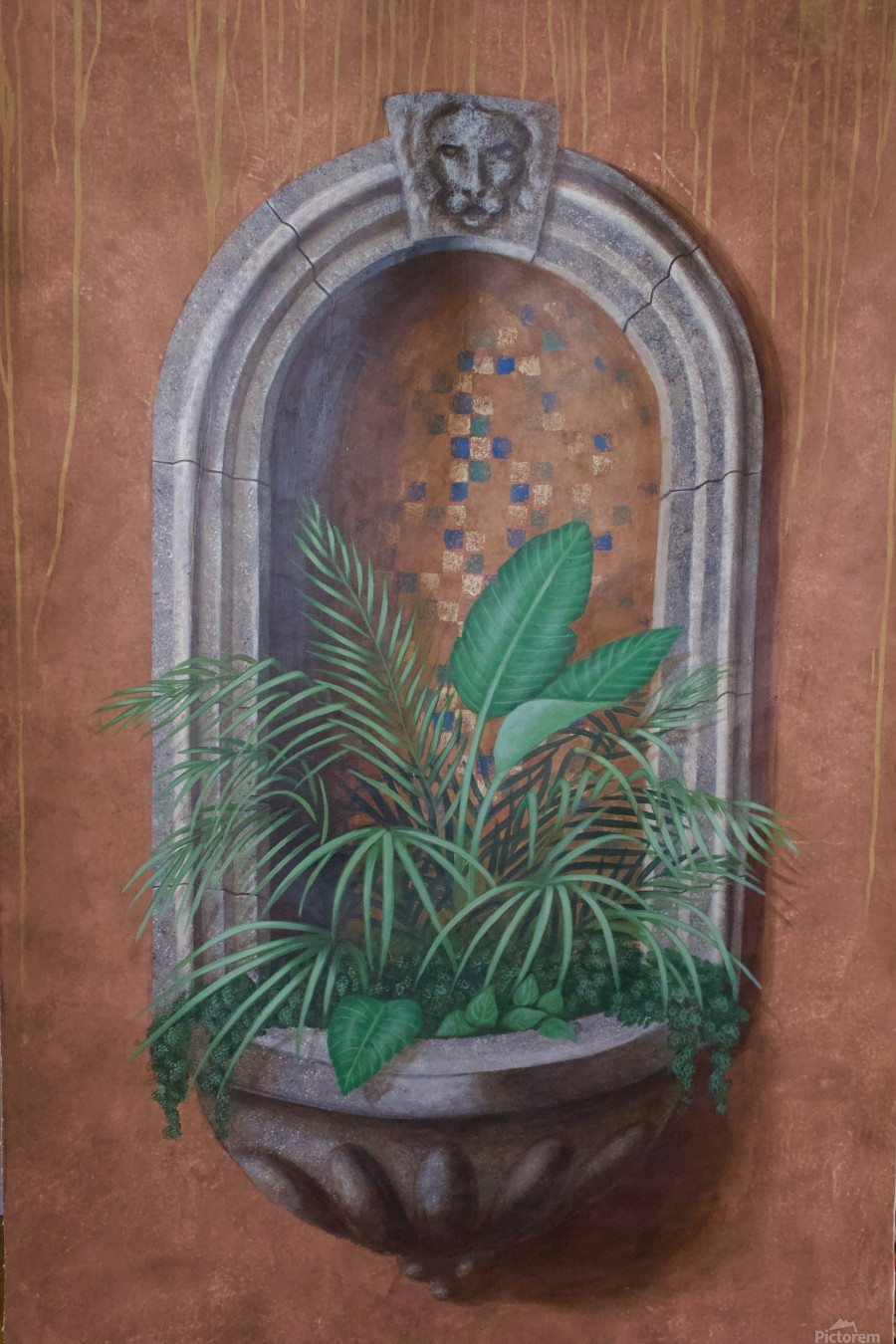 Wall Alcove with Plants - Trompe Loeil  Print