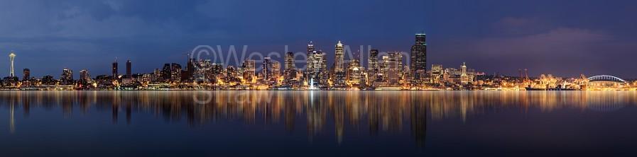 Seattle Skyline Panorama at Night  Print