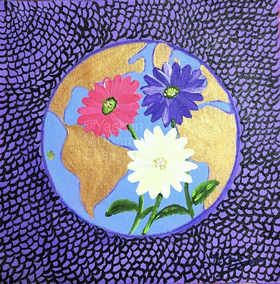 The Earth Daisy Husama Styl-Background  Print