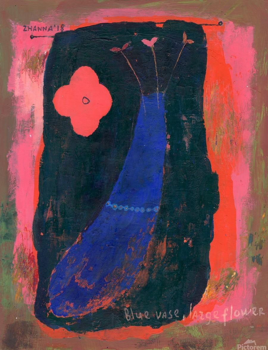 Blue Vase Large Flower  Print