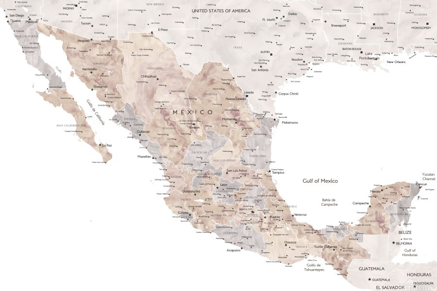 Detailed map of Mexico in neutral watercolor  Print